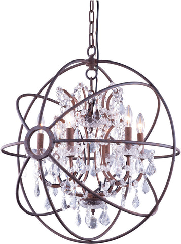C121-1130D25RI/RC By Elegant Lighting Urban Collection 6 Light Pendent lamp Red Rusted Painted Finish