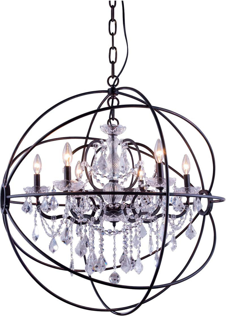 ZC121-1130D32DB-GT/RC By Regency Lighting - Geneva Collection Dark Bronze Finish 6 Lights Pendant Lamp