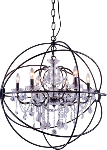 C121-1130D32DB/RC By Elegant Lighting - Geneva Collection Dark Bronze Finish 6 Lights Pendant lamp
