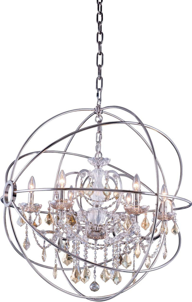 C121-1130D32PN-GT/RC By Elegant Lighting - Geneva Collection Polished nickel Finish 6 Lights Pendant lamp