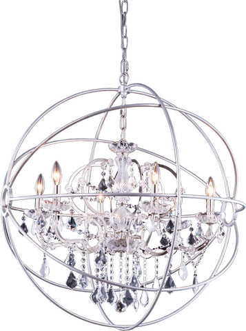 C121-1130D32PN/RC By Elegant Lighting Urban Collection 6 Light Pendent lamp Polished nickel Finish