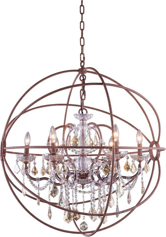 C121-1130D32RI-GT/RC By Elegant Lighting - Geneva Collection Intent Finish 6 Lights Pendant lamp