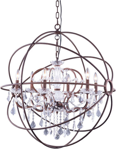 C121-1130D32RI/RC By Elegant Lighting Urban Collection 6 Light Pendent lamp Red Rusted Painted Finish