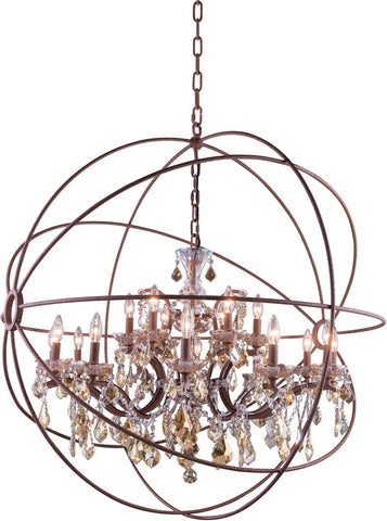 C121-1130G43RI-GT/RC By Elegant Lighting - Geneva Collection Intent Finish 18 Lights Pendant lamp