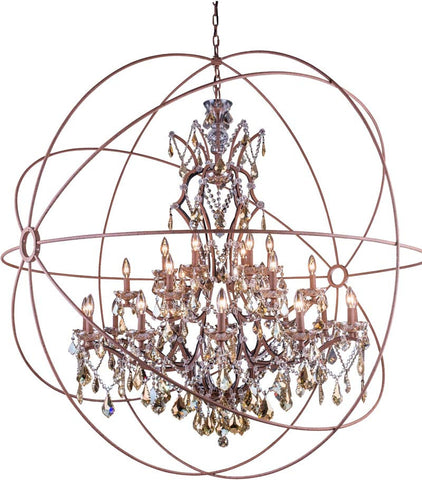 C121-1130G60RI-GT/RC By Elegant Lighting - Geneva Collection Intent Finish 25 Lights Pendant lamp