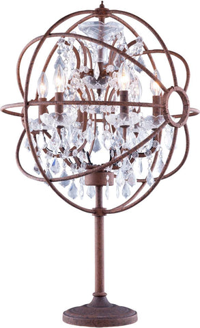 C121-1130TL21RI/RC By Elegant Lighting Urban Collection 6 Light tabel Lamp Red Rusted Painted Finish