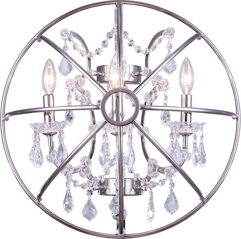 C121-1130W21PN/RC By Elegant Lighting - Geneva Collection Polished nickel Finish 3 Lights Wall Sconce