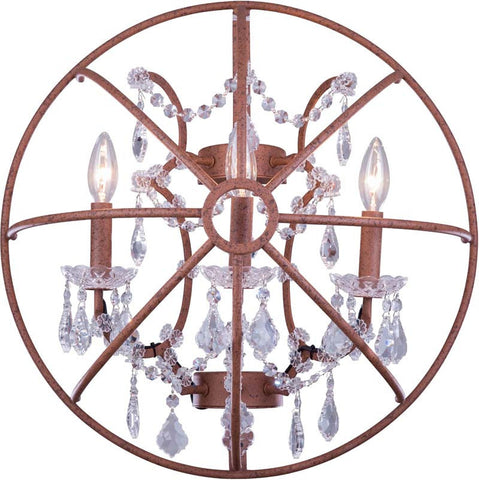C121-1130W21RI/RC By Elegant Lighting - Geneva Collection Intent Finish 3 Lights Wall Sconce