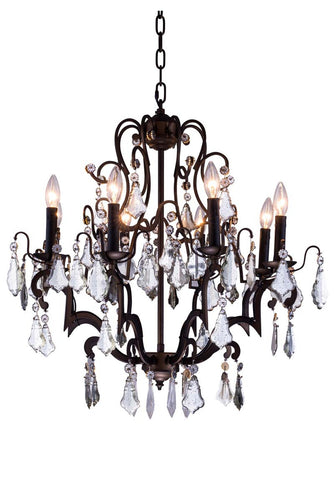 C121-1132D26AB/RC By Elegant Lighting - Charlotte Collection Antique Bronze Finish 8 Lights Pendant lamp