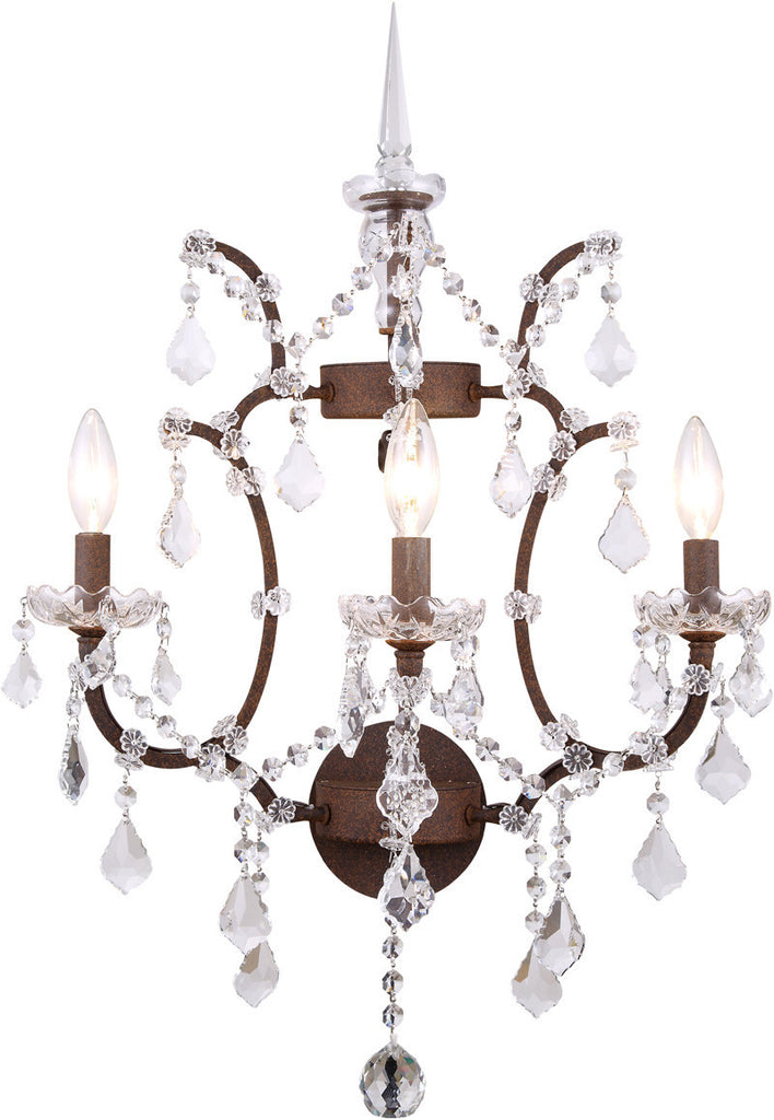 C121-1138W17RI/RC By Elegant Lighting - Elena Collection Intent Finish 3 Lights Wall Sconce