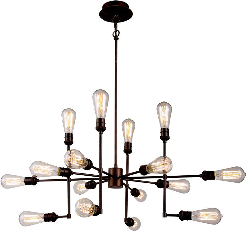 C121-1139D43CB By Elegant Lighting - Ophelia Collection Cocoa Brown Finish 15 Lights Pendant Lamp