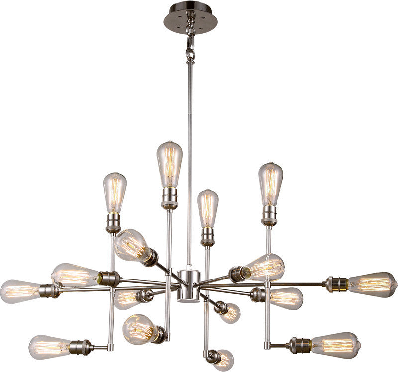 C121-1139D43PN By Elegant Lighting - Ophelia Collection Polished Nickel Finish 15 Lights Pendant Lamp