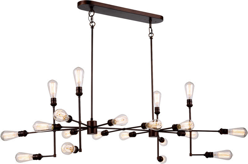C121-1139D49CB By Elegant Lighting - Ophelia Collection Cocoa Brown Finish 20 Lights Pendant Lamp