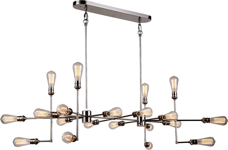 C121-1139D49PN By Elegant Lighting - Ophelia Collection Polished Nickel Finish 20 Lights Pendant Lamp