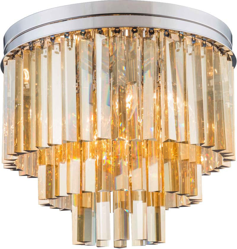 C121-1201F20PN-GT/RC By Elegant Lighting - Sydney Collection Polished nickel Finish 9 Lights Flush Mount