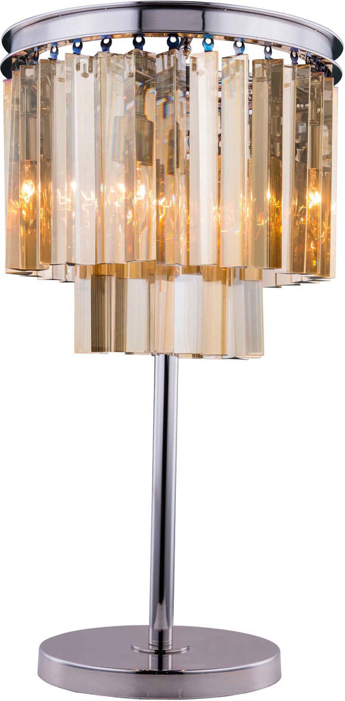 C121-1201TL14PN-GT/RC By Elegant Lighting - Sydney Collection Polished nickel Finish 3 Lights Table Lamp