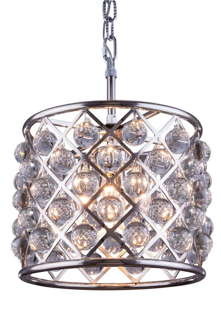 C121-1204D14PN/RC By Elegant Lighting - Madison Collection Polished nickel Finish 3 Lights Pendant lamp