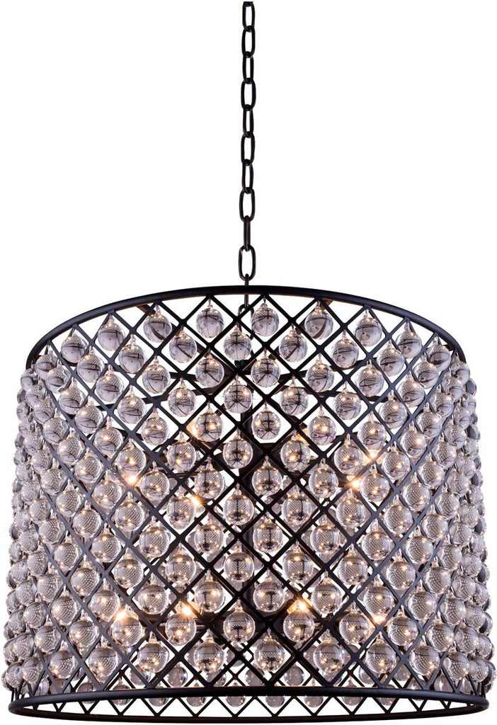 C121-1204D35MB/RC By Elegant Lighting - Madison Collection Mocha Brown Finish 12 Lights Pendant lamp