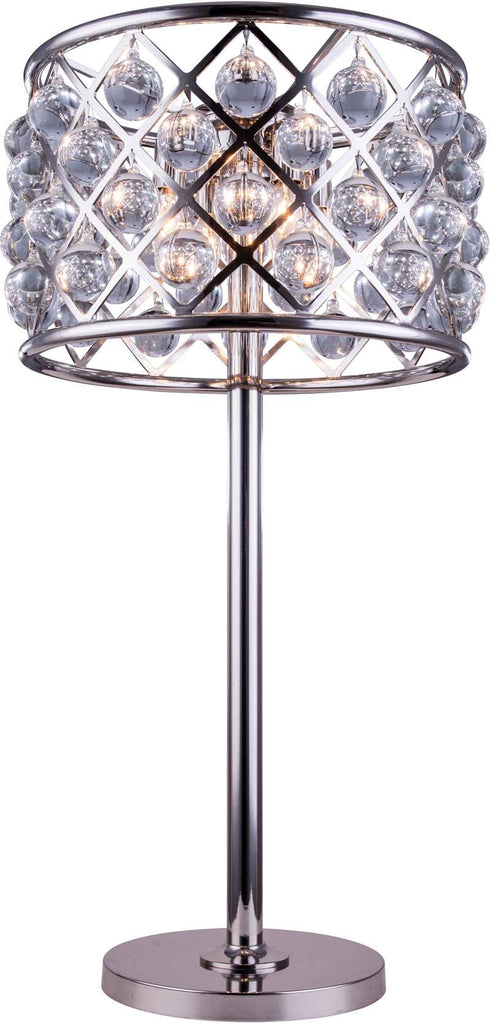C121-1204TL15PN/RC By Elegant Lighting - Madison Collection Polished nickel Finish 3 Lights Table Lamp
