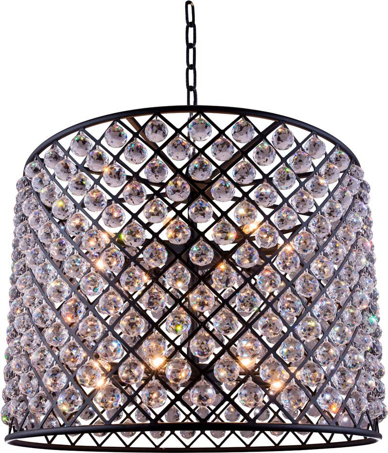 C121-1206D35MB/RC By Elegant Lighting - Madison Collection Mocha Brown Finish 12 Lights Pendant lamp