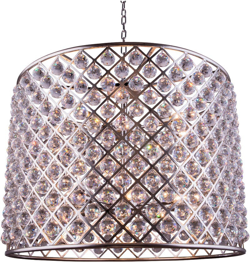 C121-1206D35PN/RC By Elegant Lighting - Madison Collection Polished nickel Finish 12 Lights Pendant lamp