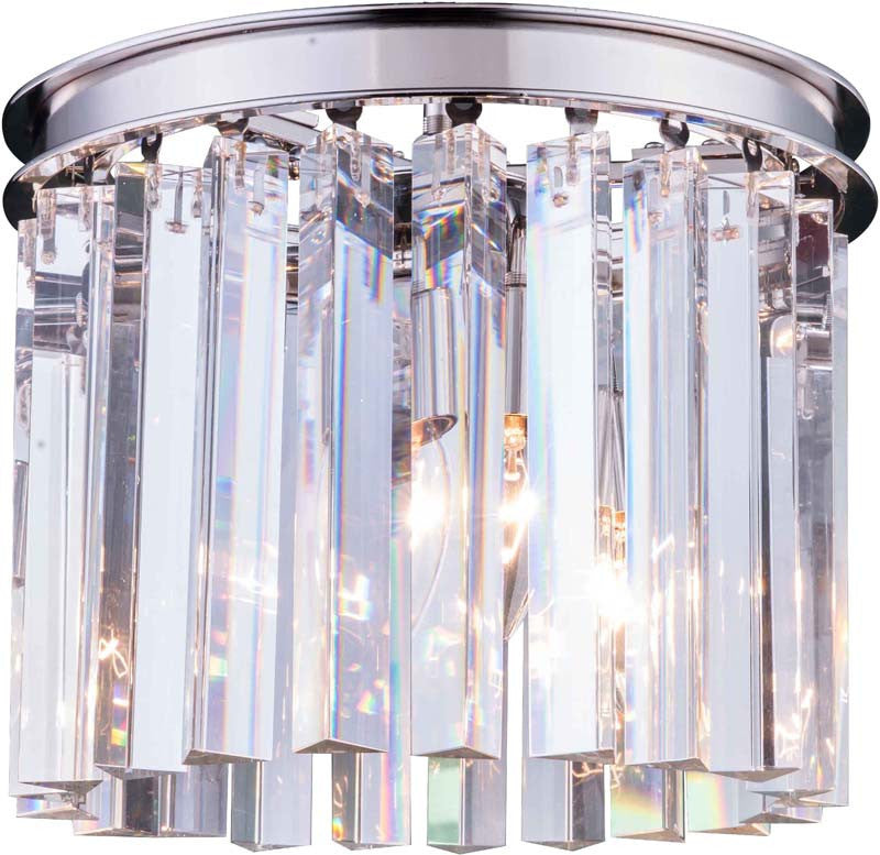 C121-1208F12PN/RC By Elegant Lighting - Sydney Collection Polished nickel Finish 3 Lights Flush Mount