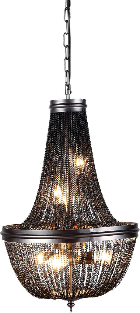 C121-1210D14DG By Elegant Lighting - Paloma Collection Dark Grey Finish 6 Lights Pendant Lamp