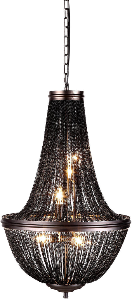 C121-1210D17DG By Elegant Lighting - Paloma Collection Dark Grey Finish 6 Lights Pendant Lamp