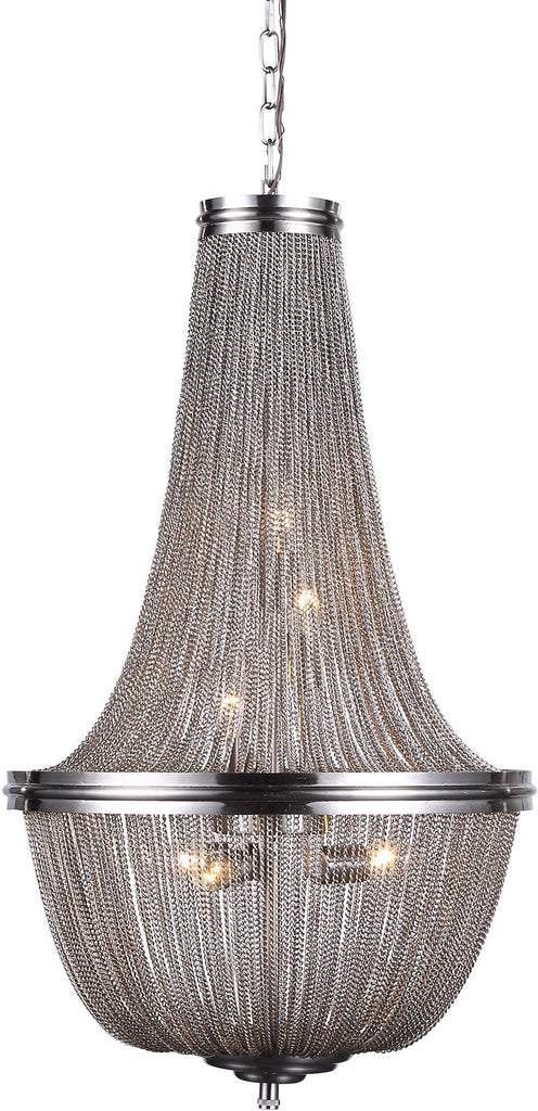C121-1210D17PW By Elegant Lighting - Paloma Collection Pewter Finish 6 Lights Pendant Lamp