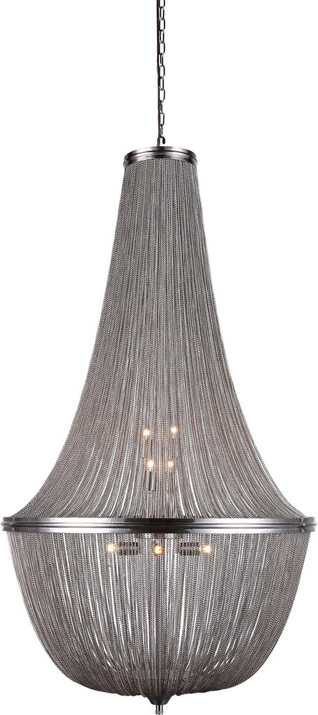C121-1210D30PW By Elegant Lighting - Paloma Collection Pewter Finish 10 Lights Pendant Lamp