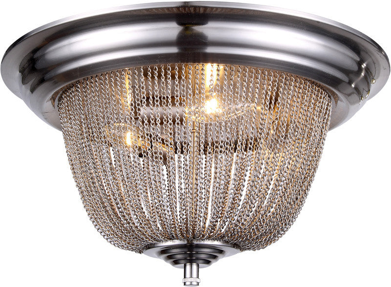 C121-1210F18PW By Elegant Lighting - Paloma Collection Pewter Finish 3 Lights Flush Mount