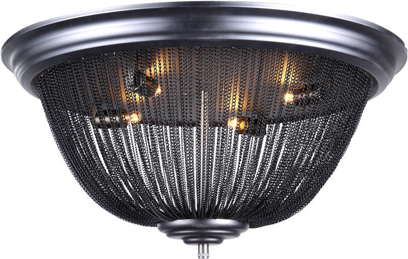 C121-1210F24DG By Elegant Lighting - Paloma Collection Dark Grey Finish 4 Lights Flush Mount