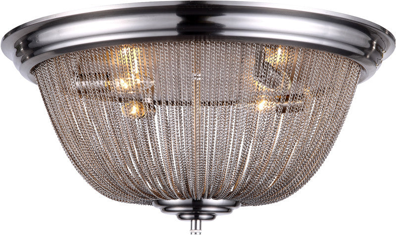 C121-1210F24PW By Elegant Lighting - Paloma Collection Pewter Finish 4 Lights Flush Mount