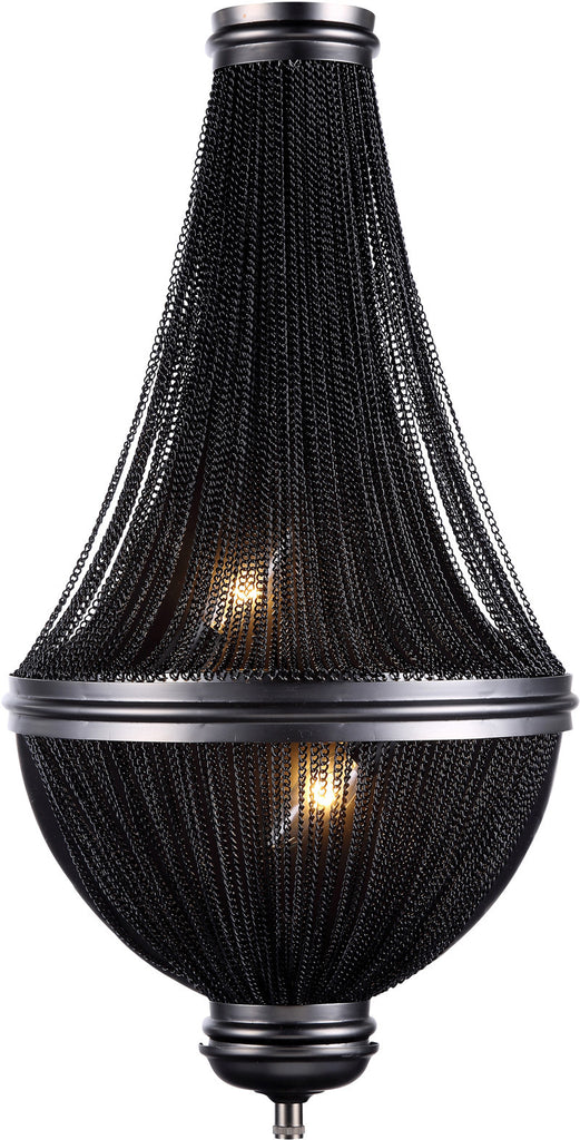 C121-1210W13DG By Elegant Lighting - Paloma Collection Dark Grey Finish 3 Lights Wall Sconce