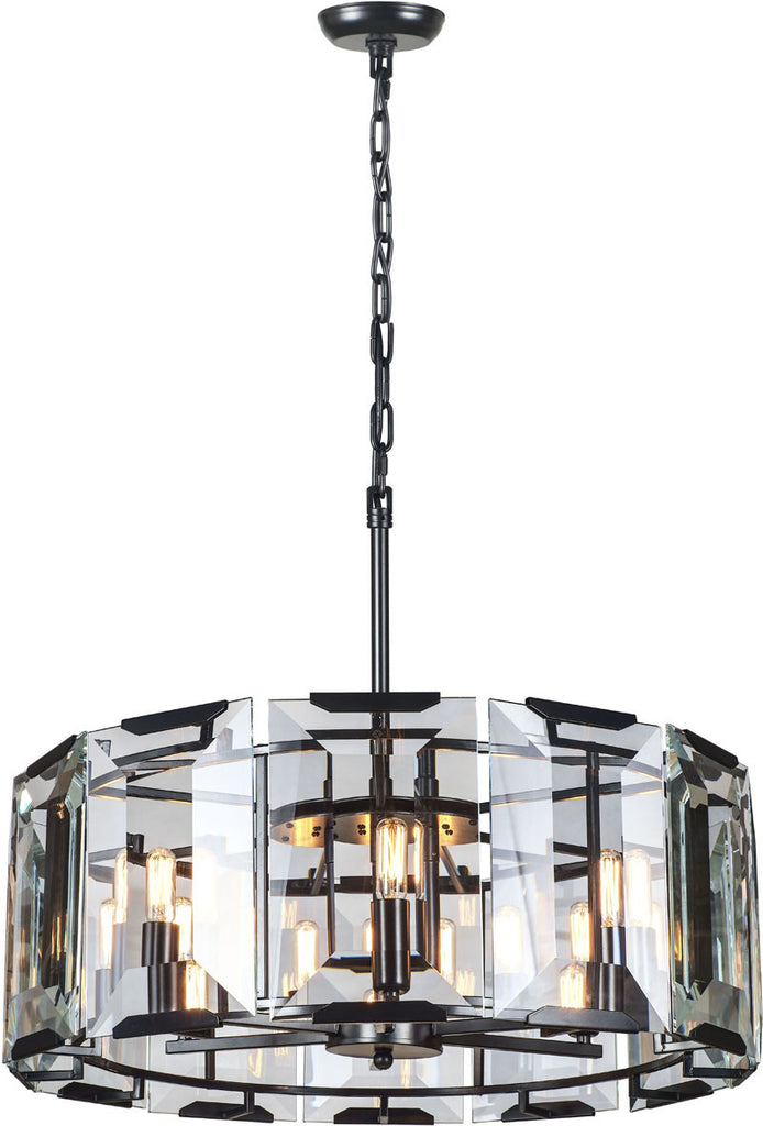 C121-1211D26FB By Elegant Lighting - Monaco Collection Flat Black (Matte) Finish 6 Lights Pendant Lamp