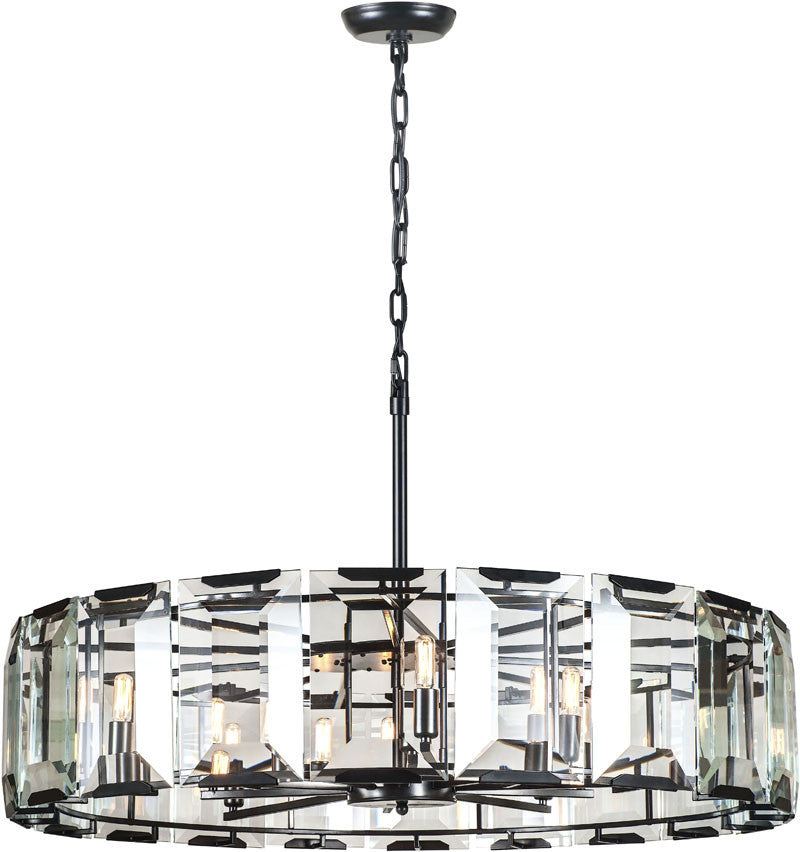 C121-1211D43FB By Elegant Lighting - Monaco Collection Flat Black (Matte) Finish 10 Lights Pendant Lamp