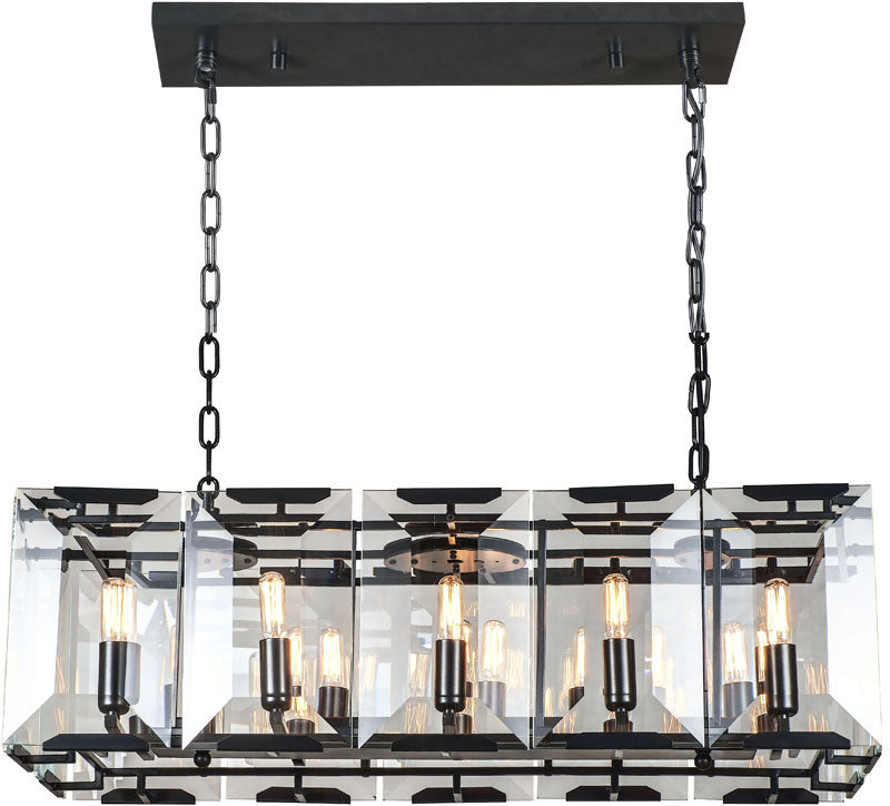 C121-1212D34FB By Elegant Lighting - Monaco Collection Flat Black (Matte) Finish 10 Lights Pendant Lamp