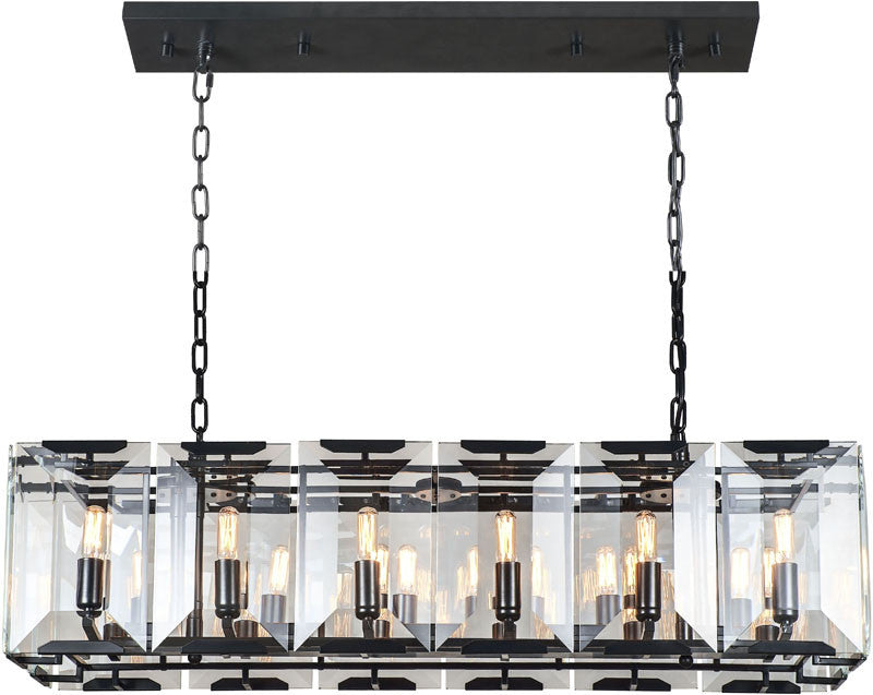 C121-1212D40FB By Elegant Lighting - Monaco Collection Flat Black (Matte) Finish 12 Lights Pendant Lamp