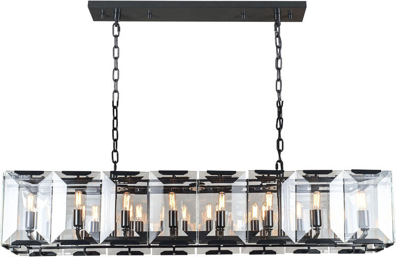 C121-1212D53FB By Elegant Lighting - Monaco Collection Flat Black (Matte) Finish 16 Lights Pendant Lamp