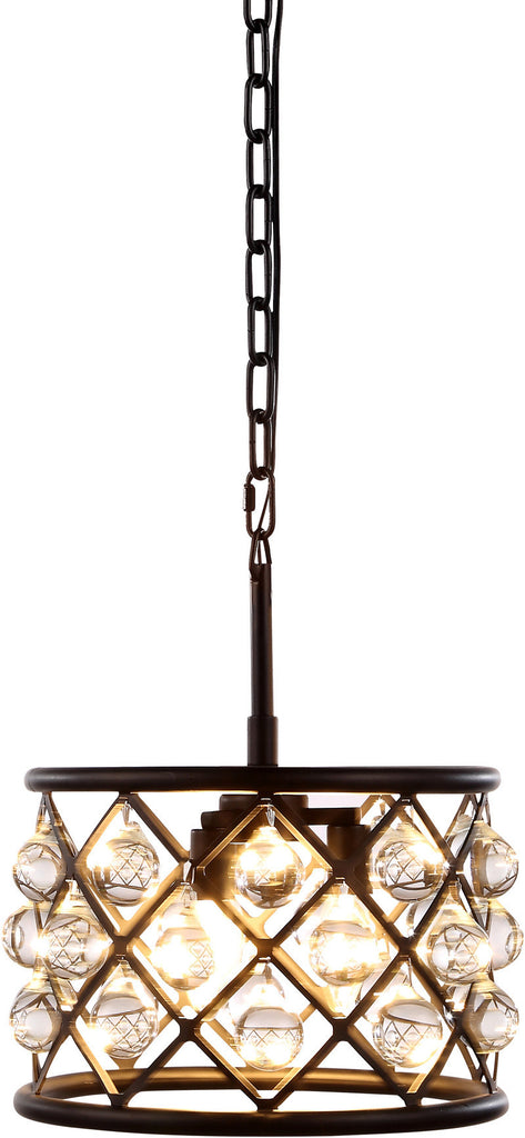 C121-1213D12MB/RC By Elegant Lighting - Madison Collection Mocha Brown Finish 3 Lights Pendant Lamp