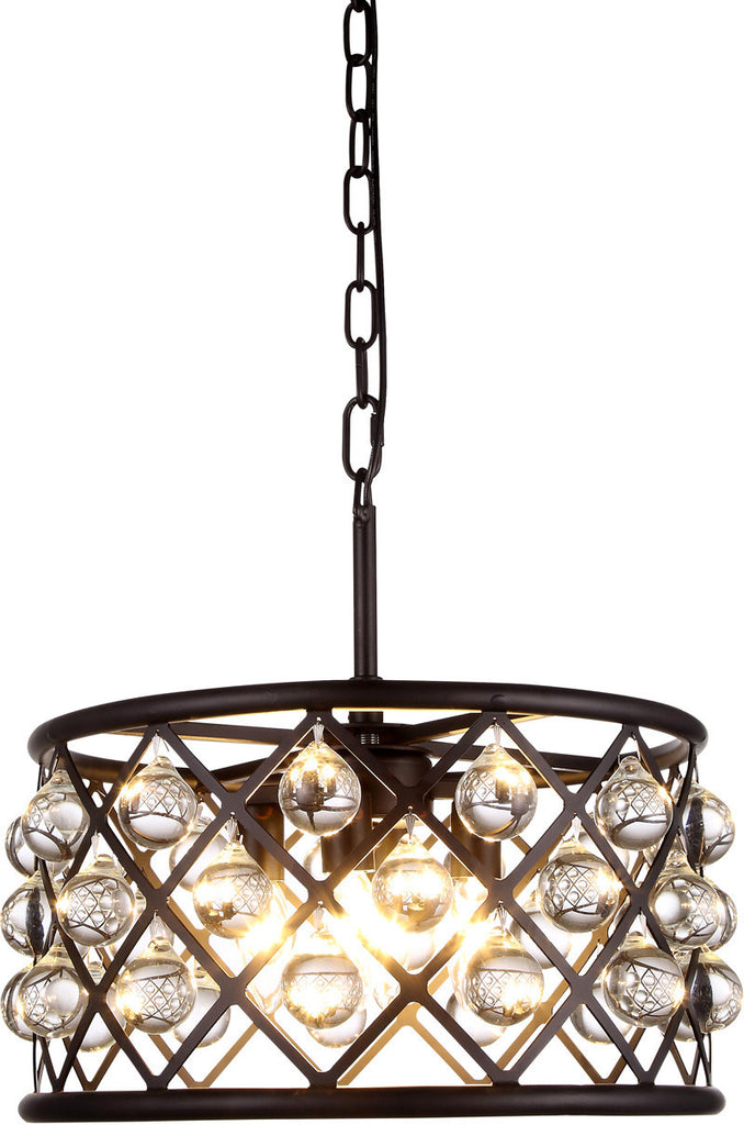 C121-1213D16MB/RC By Elegant Lighting - Madison Collection Mocha Brown Finish 4 Lights Pendant Lamp