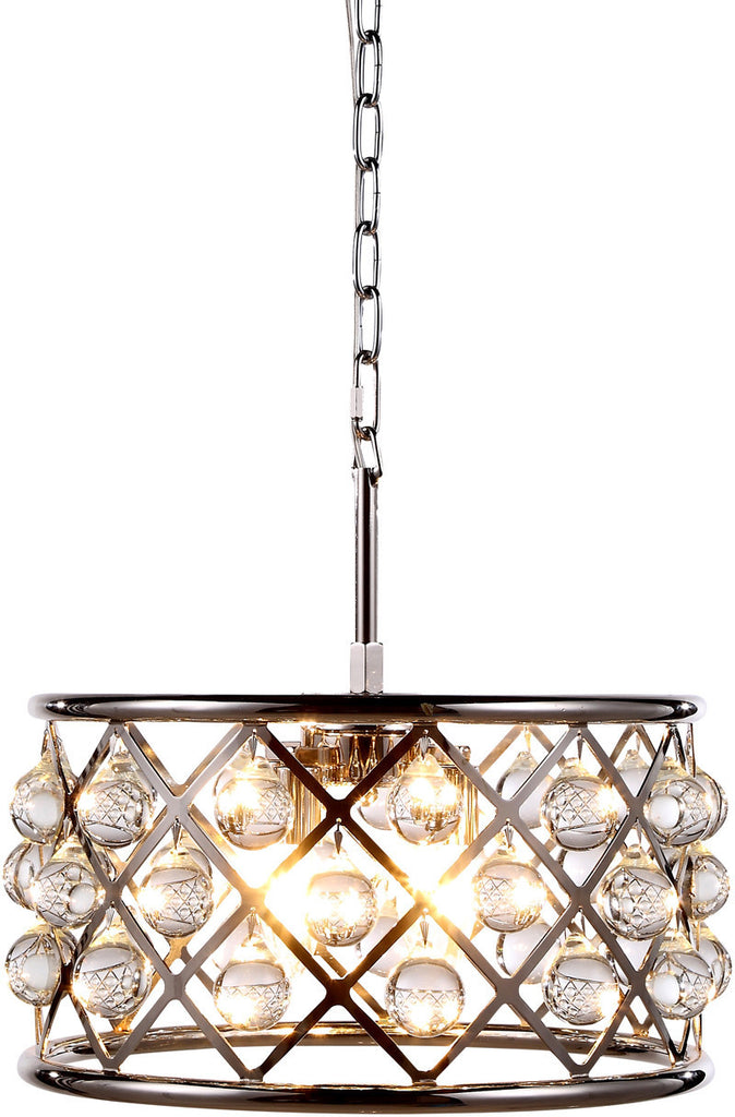 C121-1213D16PN/RC By Elegant Lighting - Madison Collection Polished Nickel Finish 4 Lights Pendant Lamp