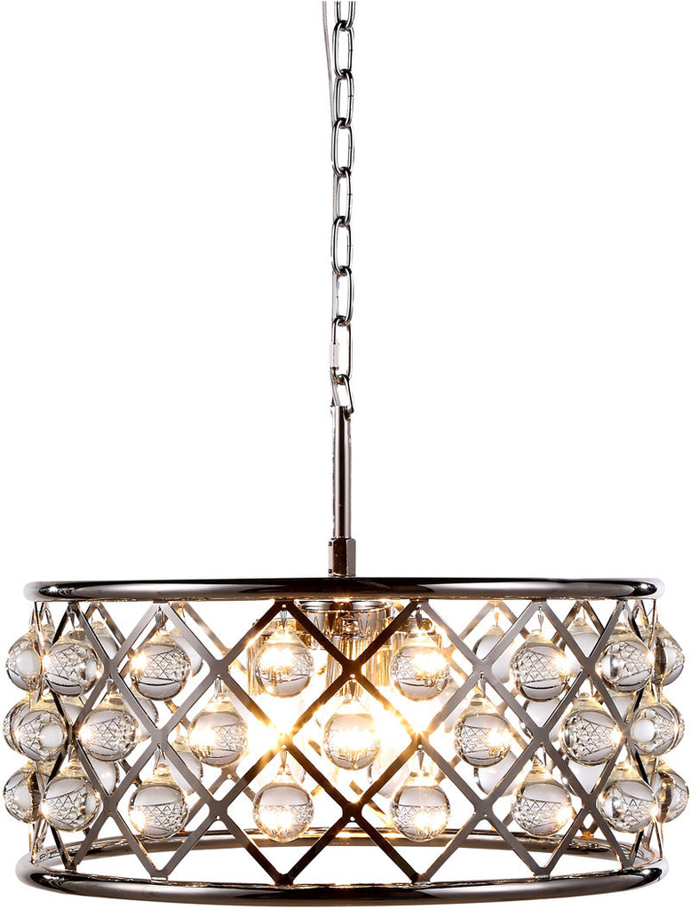 C121-1213D20PN/RC By Elegant Lighting - Madison Collection Polished Nickel Finish 5 Lights Pendant Lamp