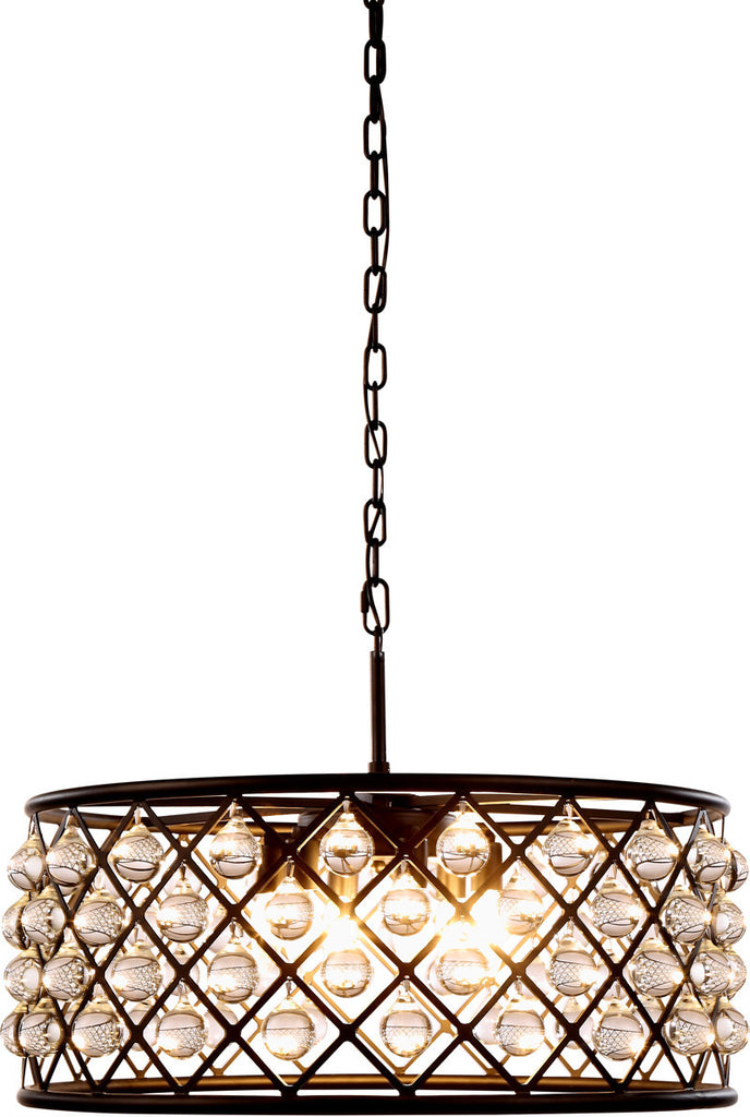C121-1213D25MB/RC By Elegant Lighting - Madison Collection Mocha Brown Finish 6 Lights Pendant Lamp
