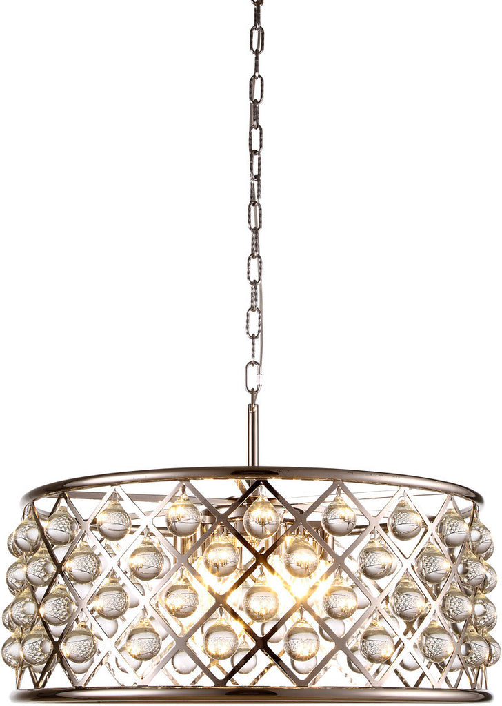 C121-1213D25PN/RC By Elegant Lighting - Madison Collection Polished Nickel Finish 6 Lights Pendant Lamp