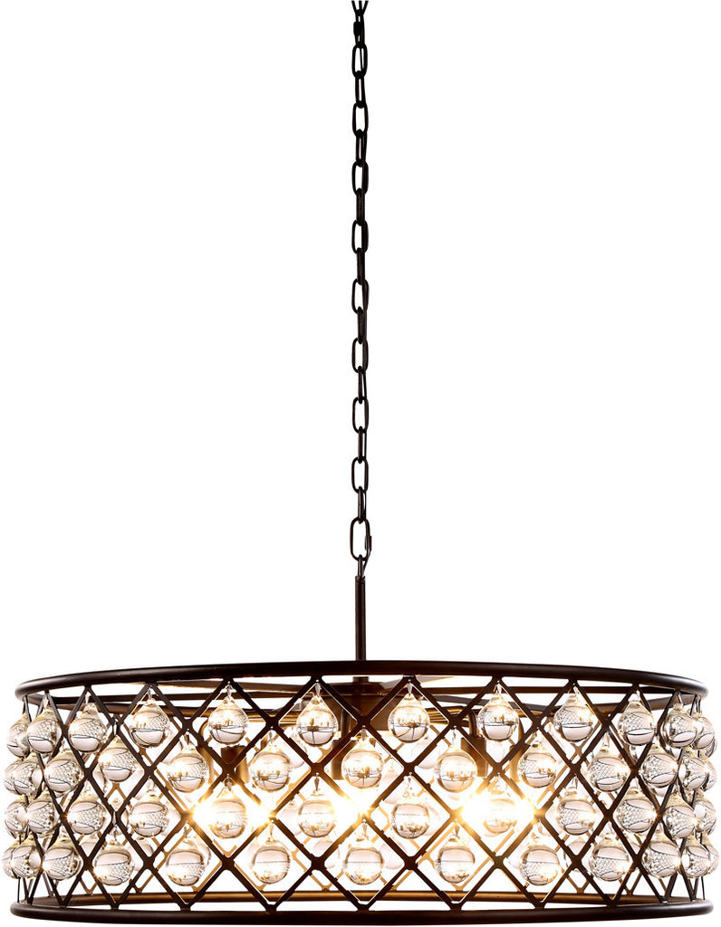C121-1213D32MB/RC By Elegant Lighting - Madison Collection Mocha Brown Finish 8 Lights Pendant Lamp