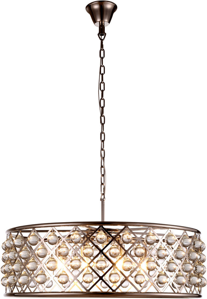 C121-1213D32PN/RC By Elegant Lighting - Madison Collection Polished Nickel Finish 8 Lights Pendant Lamp