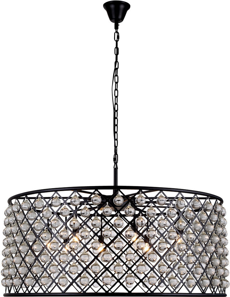 C121-1213G43MB/RC By Elegant Lighting - Madison Collection Mocha Brown Finish 10 Lights Pendant Lamp