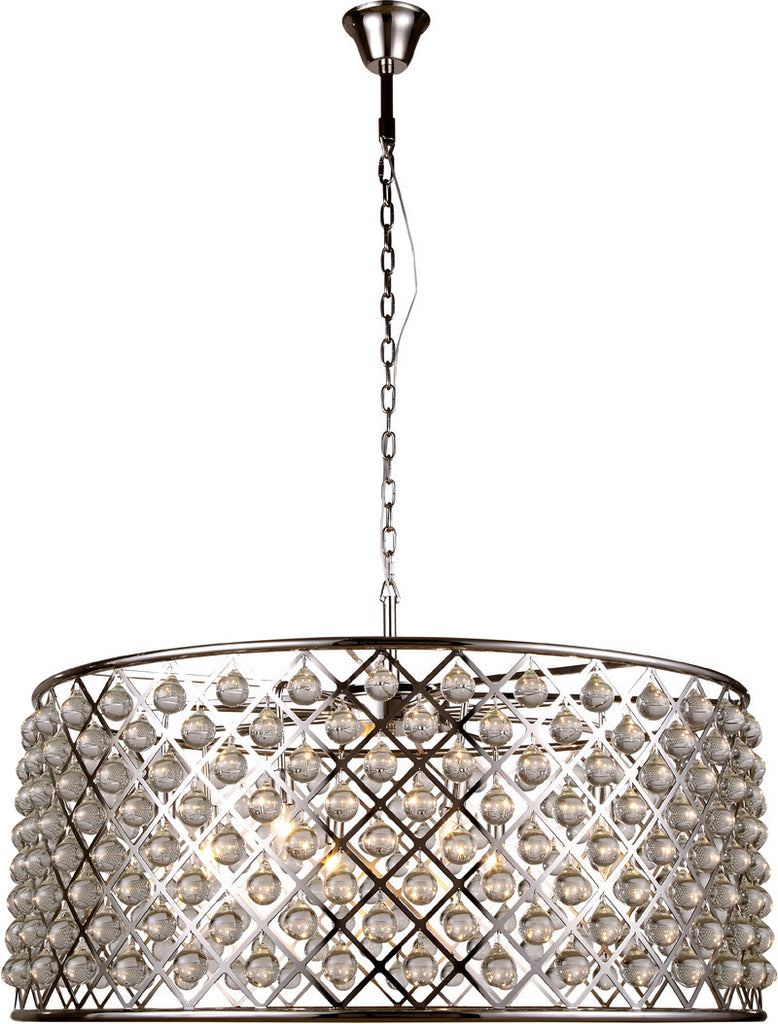 C121-1213G43PN/RC By Elegant Lighting - Madison Collection Polished Nickel Finish 10 Lights Pendant Lamp