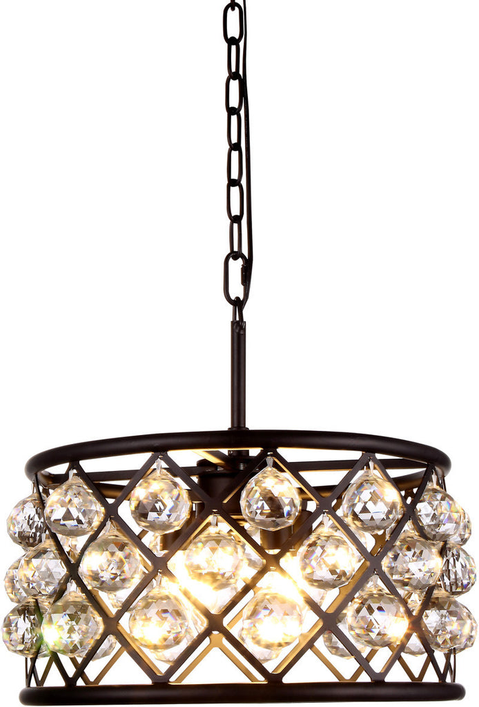 C121-1214D16MB/RC By Elegant Lighting - Madison Collection Mocha Brown Finish 4 Lights Pendant Lamp
